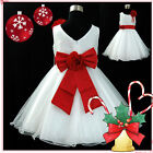 Kids Christmas Party Reds White Flower Girls Dresses SIZE 1 2 3 4 5 6 7 8 10 12T
