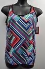 "Xersion Plus Size Performance Wear ""Spliced Stripe"" Medium Support Bra Tank Top"