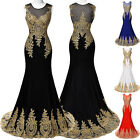 Appliques Mermaid Formal Evening Cocktail Party Masquerade Long Dress Prom Gown