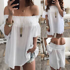US Womens One Off Shoulder Casual Short Sleeve Loose Blouse T Shirt Mini Dresses