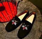 New Men's  Embroidery Animal Moccasins Metal button Driving Loafer Shoes Suede