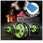 AB FITNESS WHEEL ROLLER Abdominal Waist Workout Exercise Gym With FREE MAT