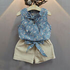 Toddler Kids Baby Girls Floral Bowknot Vest T-Shirt+Shorts Outfits Clothes Set