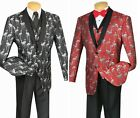 New Mens Black Red Flamingo 3 Piece Animal Tuxedo Matching Vest Set TUXXMAN Tux