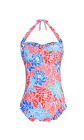 Women's Retro Pin Up Floral Printed Ruffle One Piece Swimsuit