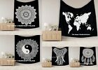 Indian Mandala Tapestry Hippie Wall Hanging Bohemian Bedspread Black White Decor