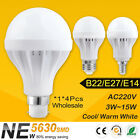 1/4x E14 B22 E27 LED Energy Save Light Lamp Bulb Cool White 3W 5W 7W 9W 12W 15W
