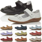 WOMENS LADIES FLAT MARY JANE COMFORT PADDED HOOK&LOOP LEATHER SHOES SANDALS SIZE