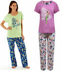 JERSEY Pyjamas Animal Parrot T-Shirt Full Length Green Pink Womens 100% Cotton
