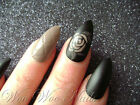 Hand Painted False Nails Full Cover Press on Nails Matte Chic Floral Mocha Quilt