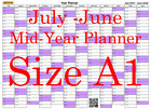 Lilac A1 Landscape planner July - June Wall Calendar Choice of Years (1111)