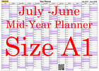 Lilac Fade A1 Landscape planner July - June Wall Calendar Choice of Years (1112)