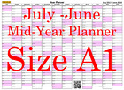Pink A1 Landscape planner July - June Wall Calendar Choice of Years (1113)