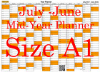 Orange Fade A1 Landscape planner July -June Wall Calendar Choice of Years (1116)
