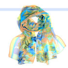 Beautiful  Art Floral Prints Silk Feeling Polyester Scarf Wrap Multicolor | FJUS