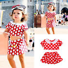 Toddler Kids Baby Girls Mickey Outfits Clothes Crop Tops+Shorts/Skirt 2PCS Set