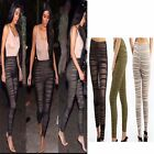 Ladies Women Ruched Gathered Mesh Sheer Soft Pants Trousers Skinny Tight Legging