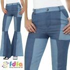 DELUXE BLUE FLARED FLARES DENIM PATCH UK 8-18 Womens Ladies Fancy Dress Costume