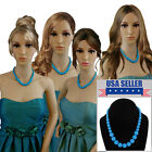 Bridesmaid Jewelry Blue Graduated Lucite Beaded Necklaces For 3 4 6 or 8 Set