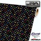 Louis Vuitton Black Background Multi Color Vinyl Car Wrap Film Decal Sheet Roll