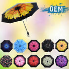 Anti-UV Sun Rain Umbrella Parasols Protection Windproof Flower Floral 3 Folding
