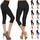 Buttery Soft Capri Leggings Womens Basic Solid Super Stretch High Waist Plain