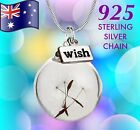 Real Flower Glass Orb Pendant Necklace Gift 925 Sterling Silver or Plated Chain