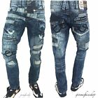 Peviani rock n roll star denim jean, mens bar hip hop g straight fit combat rips