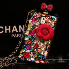 3D Bling Roses Diamond Perfume Bottle Crystal Chain Case TPU Cover For Phone