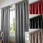 CHENILLE LINED TAPE TOP CURTAINS PLAIN PENCIL PLEAT CURTAIN PAIRS