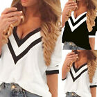 Fashion Women's Summer Loose V Neck Short Sleeve Tops Blouse Casual Tops T-Shirt