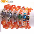 Women Men Round Red Carnelian Agate Beads Elastic Bracelets Jewelry 7'' Big Size