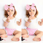 3PCS Toddler Kids Baby Girl T-shirt Tops+Shorts Pants+Headband Outfits Clothes
