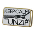 Buckle Rage Adult Mens Keep Calm Unzip Funny Clever Dude Rounded Belt Buckle