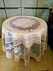 """70"""" lace tablecloth  Round in ivory color rose design  polyester easycare"""