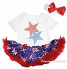 Twin Star Queen Day White Bodysuit Blue Union Jack UK Flag Baby Dress Set NB-18M