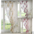 Tokyo Blossom Floral Voile Curtain Net Panel Yellow or Purple or Fuschia