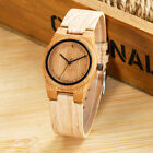 WOODFISH Bamboo Wooden Women Watches Leather Strap Analog Quartz Wristwatches