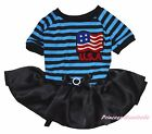 America US USA Flag 4th July Blue Striped Top Black Tutu Pet Dog Puppy Cat Dress