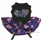 Rhinestone USA Flag Heart Black Top Blue USA Flag Tutu Pet Dog Puppy Cat Dress