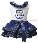 Cutest Baby Ever White Top Navy Blue Sailor Satin Trim Skirt Girls Outfit NB-8Y