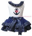 Valentine White Top Navy Blue Sailor Heart Satin Trim Skirt Girls Outfit NB-8Y