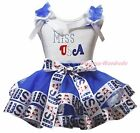Miss USA US 4th July White Top Blue USA Flag Satin Trim Skirt Girl Outfit NB-8Y