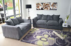New Dylan Fabric Jumbo Cord Grey Sofa in Corners and 3+2+1+Swivel Chair Seaters