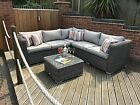 OUTDOOR RATTAN CORNER L SHAPE SOFA GROUP PATIO SET COMMERCIAL GRADE QUALITY NEW