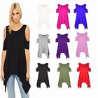 Womens Ladies Hanky Hem Baggy Cold Cut-Out Shoulder Flared Swing Top
