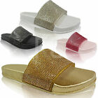 NEW WOMENS LADIES RUBBER DIAMANTE SLIDERS FLATS SLIP ONS FLIP FLOPS SANDALS SIZE