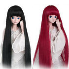 1/3 BJD SD Doll Wig 8-9'' Black DZ DOD LUTS Long Straight Full Wig Costume Wig