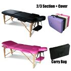FoxHunter Portable Folding Massage Table Beauty Salon Tattoo Therapy Couch Bed <br/> *FREE CARRY BAG AND COVER*HEIGHT ADJUSTABLE*PU LEATHER*