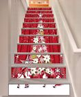 3D Red Christmas Stair Risers Trimming Photo Mural Vinyl Decal Wallpaper AU